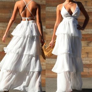 New Gorgeous White Tiered Summer Maxi Party Dress